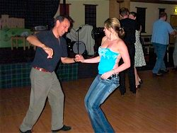 Dance teacher Javier Rogriguez from Forres enjoys a turn with Magda